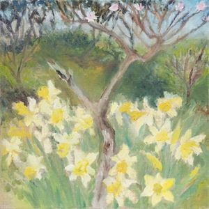 Peach Tree with the Daffodils by Star Gossage contemporary artwork