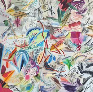 빨간 심장 선율 위에 부서지는 별빛향해 by Woo Tae Kyung contemporary artwork painting, works on paper