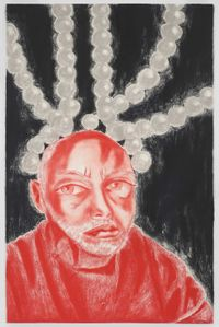 Self Portrait in White, Red, and Black II by Francesco Clemente contemporary artwork works on paper, drawing