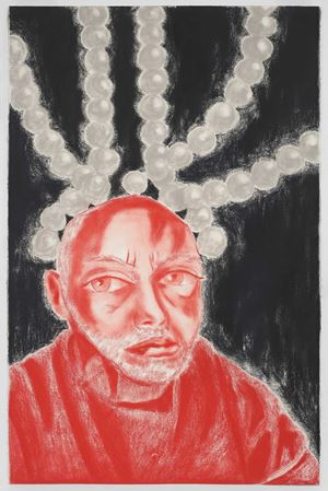 Self Portrait in White, Red, and Black II by Francesco Clemente contemporary artwork