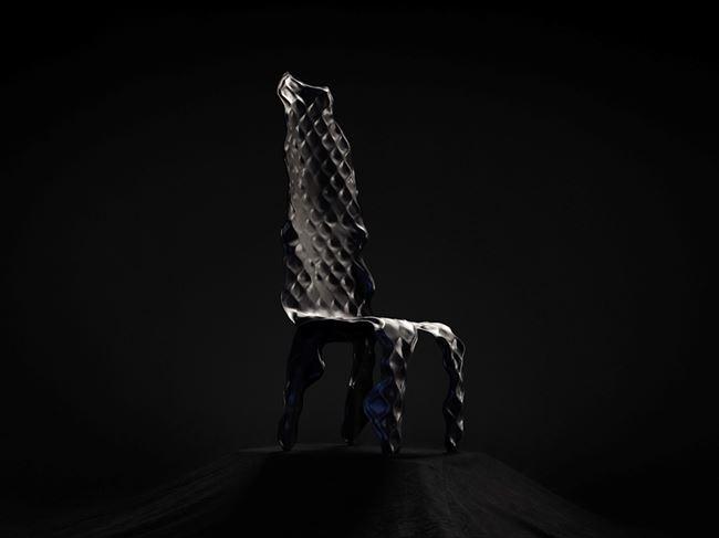 Ngumu Janka Warnti (All Made from Rubbish) High Back Chair (Black) by Johnny Nargoodah & Trent Jansen contemporary artwork