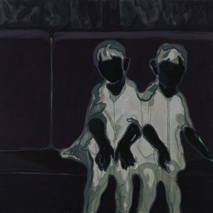 Twins On The Sofa (Mirror Image) 沙发上的双胞胎 (镜像) by Lin Shan contemporary artwork
