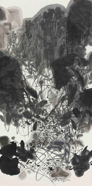 Vertical Composition 1 by Chu Teh-Chun contemporary artwork painting, works on paper, drawing