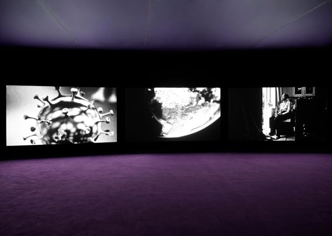 Exhibition view: John Akomfrah,Five Murmurations, West 24th Street, New York (9 September–16 October 2021).© Smoking Dogs Films. Courtesy Lisson Gallery.