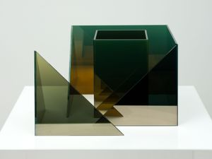 Deconstructed Cube SS with Square Duolith by Larry Bell contemporary artwork