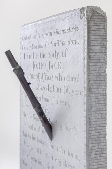 """God wills us free"" (John Jack's Epitaph, Thoreau's Flute) by Sam Durant contemporary artwork"
