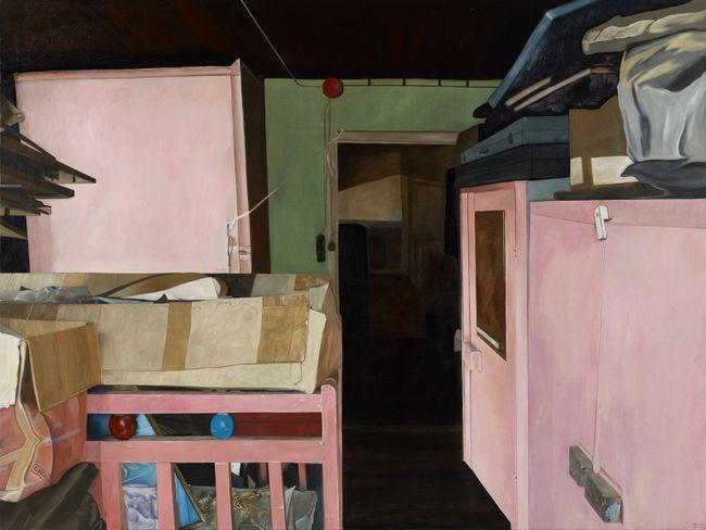Pink Crib and Pink Cabinets by Marina Cruz contemporary artwork