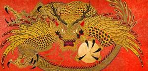 Gold Shone Flying Dragon 黄光飛龍 by Kaneko Tomiyuki contemporary artwork