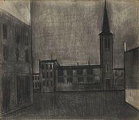 Village Church by S. H. Raza contemporary artwork drawing