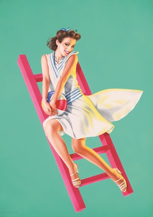 Cute Girl on a Red Ladder by Harumi Yamaguchi contemporary artwork