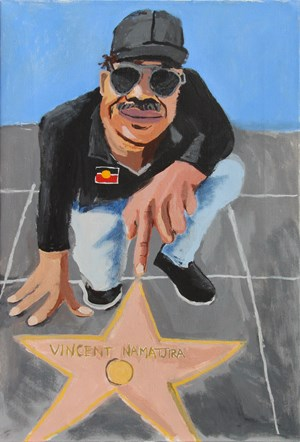 Self Portrait (Walk of Fame) by Vincent Namatjira contemporary artwork