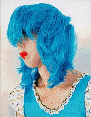 Untitled (Nick Cave in a blue wig) 2 by Polly Borland contemporary artwork