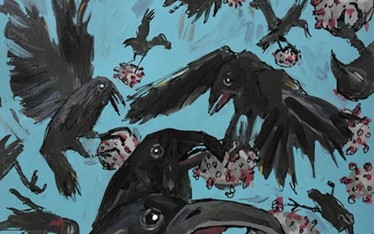 Violet Costello, Corvid vs Covid19 (2020) (detail). Acrylic on paper. 35.56 x 27.94 cm. Courtesy Richard Saltoun Gallery.