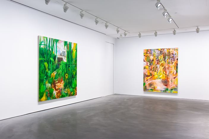 Exhibition view: Nigel Cooke, Pace Gallery, Hong Kong (23 November 2018–4 January 2019). Courtesy Pace Gallery.