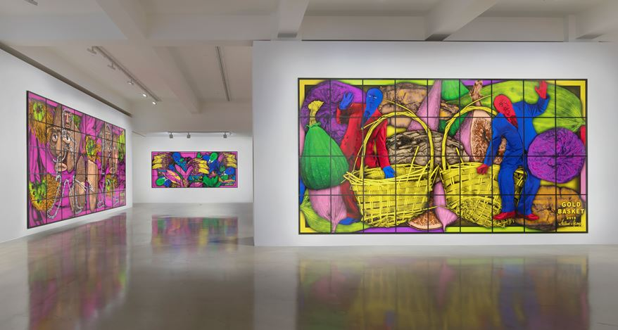 Exhibition view: Gilbert & George, THE PARADISICAL PICTURES, Sprüth Magers, Los Angeles (16 November 2019–25 January 2020). Courtesy Sprüth Magers. Photo: Robert Wedemeyer.