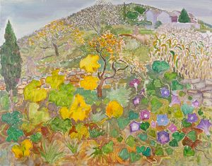Landscape with the Gourd Leaves and Morning Glory by Mao Xuhui contemporary artwork