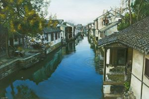A Canal Town South of the Yangtze (1) by Mi Qiaoming contemporary artwork