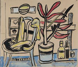 Une chaise, un pot de fleurs, deux bouteilles by Fernand Léger contemporary artwork