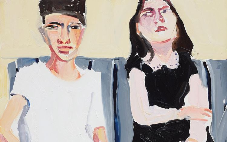 Chantal Joffe, Fraser and Esme (2020) (detail). Oil on board. (50.6 x 40.6 cm. © Chantal Joffe. Courtesy the artist and Victoria Miro.
