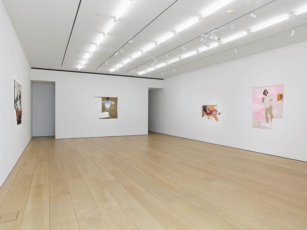 Exhibition view: Billie Zangewa, Wings of Change, Lehmann Maupin, New York (1 October–7 November 2020). Courtesy Lehmann Maupin, New York, Hong Kong, Seoul, and London.Photo: ElisabethBernstein.