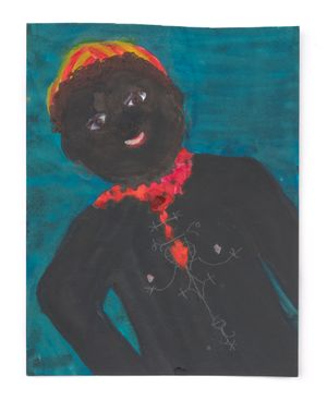 Veve Doll with Red Necklace by Betye Saar contemporary artwork painting