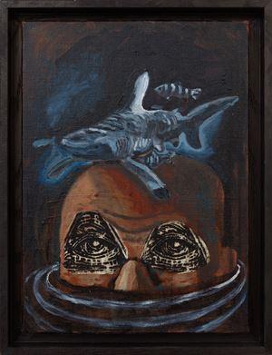 Melancholia (Blue Shark) Head by Damien Deroubaix contemporary artwork painting