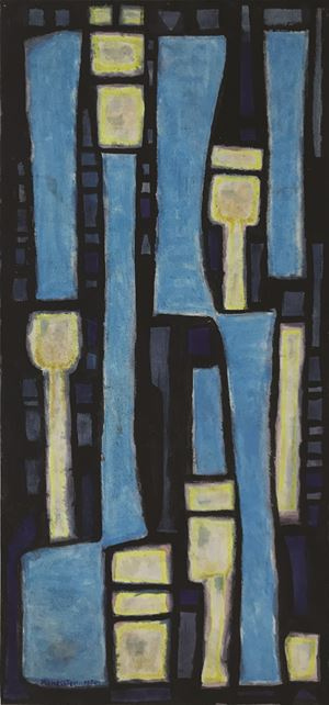Blue composition by Alfred Manessier contemporary artwork