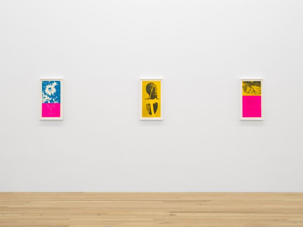 Exhibition view: Corita Kent,heroes and sheroes, Andrew Kreps, Cortlandt Alley, New York (8 July–13 August 2021). Courtesy the Corita Art Center, Los Angeles and Andrew Kreps Gallery, New York. Photo: Dan Bradica.