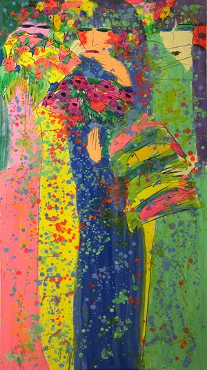 Three Girls Chatting by Walasse Ting contemporary artwork