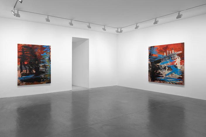 Exhibition view: Oscar Murillo, News, David Zwirner, Paris (21 October–19 December 2020). Courtesy David Zwirner.