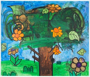 Time Storm Five (The Orange Flowers) by Carroll Dunham contemporary artwork