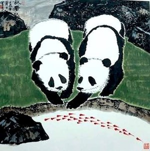 The Panda Series: Let Me Try by Lo Ch'ing contemporary artwork