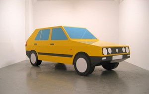 Imagine You Are Driving a Yellow VW by Julian Opie contemporary artwork sculpture