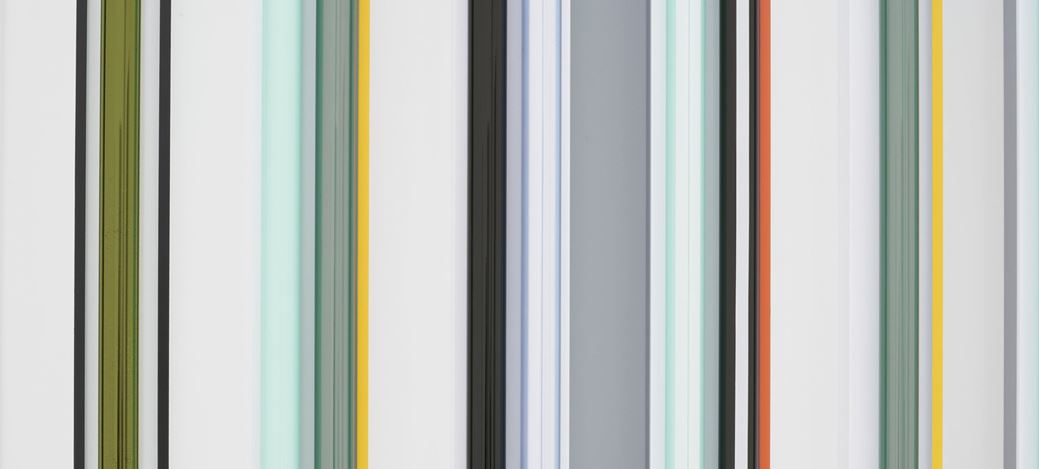 Robert Irwin,Kilts (2018) (detail). Shadow + Reflection + Colour. 72 × 103 1/4 x 4 1/4 inches / 182.9 × 262.3 × 10.8 cm. © Robert Irwin. Courtesy Pace Gallery.