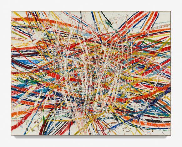 Mark Grotjahn, Untitled (Backcountry Capri 54.35)(2021). Oil on cardboard mounted on linen. 85 3/4 x 110 1/2 x 3 inches. © Mark Grotjahn. Courtesy the artist and Blum & Poe, Los Angeles/New York/Tokyo. Photo: Douglas M. Parker Studio MG 2053.