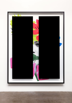 Black Bars: Déjeuner No. 11 (Girl with Sunflowers, Lilies, and Dice) by Kathryn Andrews contemporary artwork