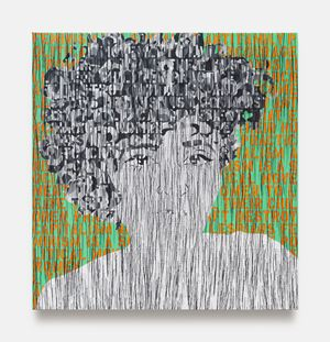 Self Portrait in Black and White by Ghada Amer contemporary artwork