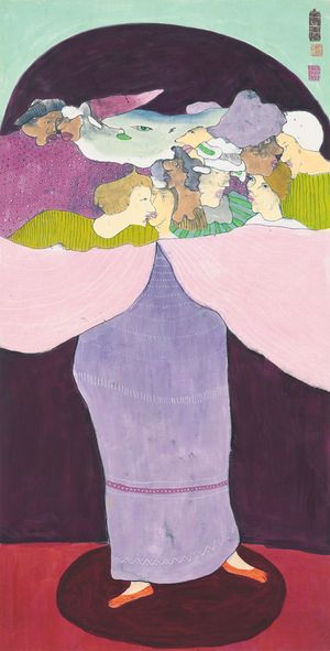 Untitled (The Purple Lady) 《無題》(紫衣女子) by Luis Chan contemporary artwork painting, works on paper, drawing