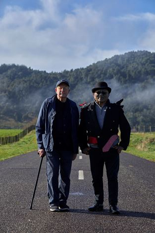 Billy Apple® and Tāme Iti on the confiscation line, Ruatoki. Photo by Sam Hartnett, courtesy of James McCarthy and Starkwhite.