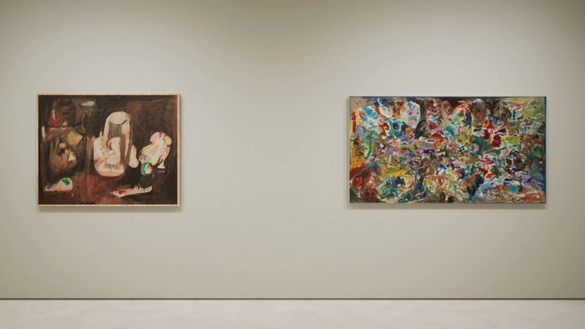 Exhibition view: Created in HWVR, Arshile Gorky & Jack Whitten, picturing Arshile Gorky, Pastoral (c. 1947) and Jack Whitten, Garden in Bessemer VI (1968). © (2019) The Arshile Gorky Foundation / Artists Rights Society (ARS) / © Jack Whitten Estate. Courtesy the estates and Hauser & Wirth.