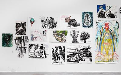 Exhibition view: Raymond Pettibon, TH' EXPLOSIYV SHOYRT T, David Zwirner, 19th Street, New York (29 April–24 June 2017). Courtesy David Zwirner, New York.