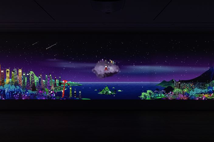 Exhibition view: Chiho Aoshima, Our Tears Shall Fly Off into Outer Space, Perrotin, Hong Kong (26 September–14 November 2020). ©Chiho Aoshima/Kaikai Kiki. Courtesy Perrotin. Photo:Ringo Cheung.