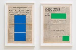 Art For Modern Architecture (New York Times – Moon Landing – 21/07/69 & Izvestiya – Moon Landing – 21/07/69) by Marine Hugonnier contemporary artwork