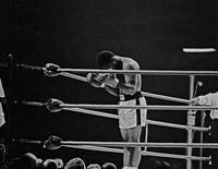 Ali praying in the ring before his title fight against Brian, London, 1966 by Thomas Hoepker contemporary artwork photography