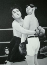 Charles Chaplin - City Lights by Zhou Tiehai contemporary artwork painting