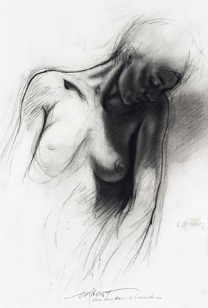 """Study for """"Marie de l'incarnation"""" by Ernest Pignon-Ernest contemporary artwork"""