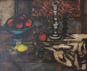 Still Life with a Candle Stick by Jankel Adler contemporary artwork