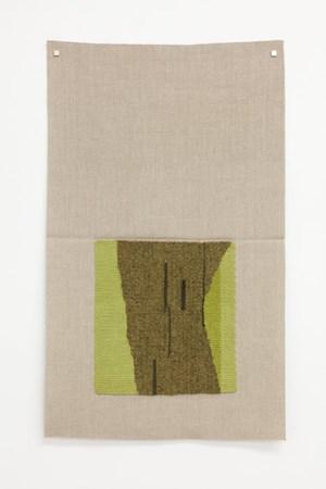 Typewriter drawing, precommencement (lichen-dyed brown-green, yellow-green, dark green) by Helen Mirra contemporary artwork