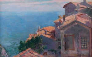 Village au bord de la Méditerranée, Eze by Henri-Edmond Cross contemporary artwork