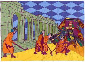 Hockey Sticks by Yinka Shonibare CBE (RA) contemporary artwork textile